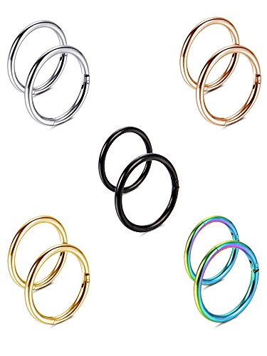 10 Stücke 16 G Nasenringe Scharnier Clicker Hoop Ring Nahtlose Septum Lip Helix Knorpel Tragus Piercing, 8/ 10 mm, 5 Farben (Ringe 16 G Lip)