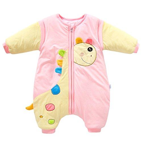 Happy Cherry Saco de Dormir de Piernas Separadas Bolsa para Dormir con Mangas Desmontables para Bebés Unisex Patrón de Girafa   Color Rojo