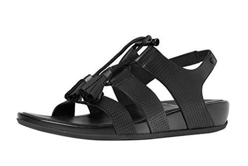 Sandale En Cuir Lacets Gladdie De FitFlop (perf) Tout Noir All Black