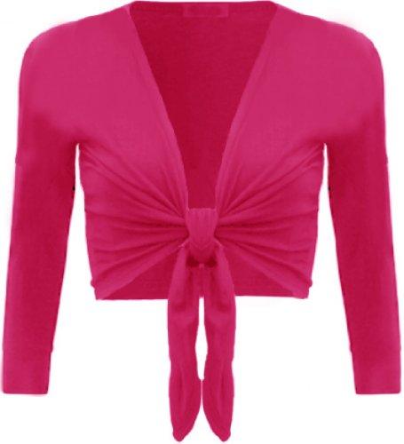Femmes Grande Taille ficeler haussements d'épaules culture cardigans boléro tops Cerise/Hot Pink