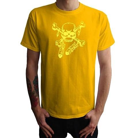 T-shirt de crâne indiennes hommes, jaune,