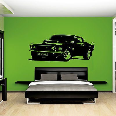 XL großes Auto Ford Mustang 1969 Muscle gratis Rakel. Art Wand sticker/aufkleber, Orange, Orange Xtra Large - 144cm W x 59cm H As Pictured (Orange Mustang)
