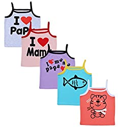 MYFAA Girls Camisole- Pack of 5 (V5P-1042-3-6M, Multi-Coloured, 3-6 Months)