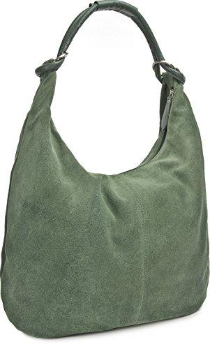CNTMP, Borsa da Donna, Borsa a Spalla, Con Tasche, In Pelle Scamosciata, Con Tasca in Pelle, DIN-A4, 44 x 36 x 4 cm verde scuro