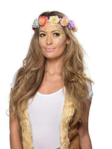 (Damen 1960s Jahre 1970s Hippie Hippy Blume Make-Up Gesichtsbemalung Edelsteine Fest Karneval Kostüm Verkleidung Zubehör Set)