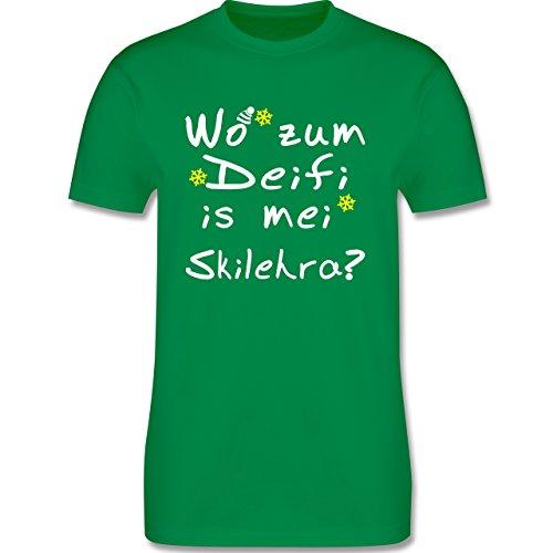 Wintersport - Wo zum Deifi is mei Skilehra - Herren Premium T-Shirt Grün