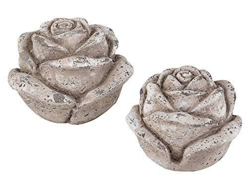 2er Set Deko Blüte Rose Beton 13-16 cm Tischdekoration Blume Haus Gartendeko