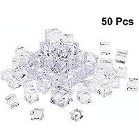 Vosarea - Lote de 50 cubos cuadrados con forma de cristal y cristal transparente