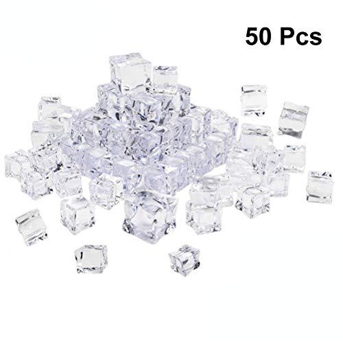 Vosarea 50Pcs Eiswürfel Dauereiswürfel Quadratische Form 20mm Acryl Eiswürfel Fotografie Requisiten Küche Deko