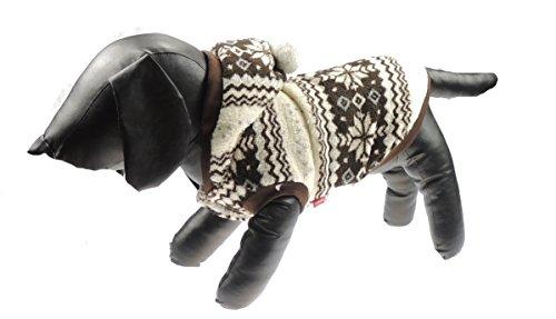 Hundemantel im winterlichen Fairisle-Design, mit Kapuze und Pom-Pom, schokoladenbraun (Bootie Pom)