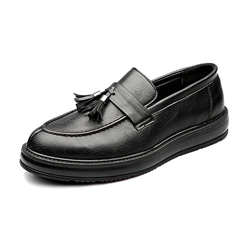 Sunny&baby scarpe da lavoro in pelle pu da uomo classic slip-on mocassini con nappe ciondolo decorazione outsole oxfords resistente all'abrasione ( color : black , size : 41 eu )