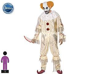Atosa-63728 Atosa-63728-Disfraz Payaso Sangriento-Adulto XS a S-Hombre, Color Blanco, Small (63728)