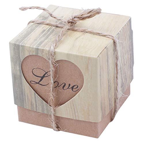 Cikuso 150 pezzi di caramelle scatole amore rustico carta kraft bomboniere iuta shabby chic vintage spago bomboniera regalo 5 x 5 x 5 cm