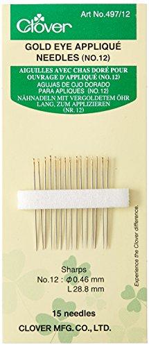 Clover 497/12 Nähnadeln lang zum Applizieren Nummer 12, 46 x 28,8 mm, 15 Stück Gold-eye Applique Needles