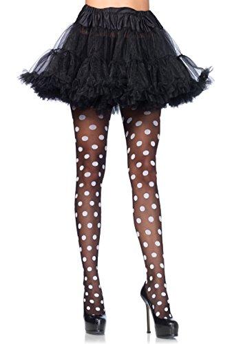 Band Leg Panty (Leg Avenue 7941 - Sheer polka dot pantyhose, Einheitsgröße, Schwarz-Weiss)