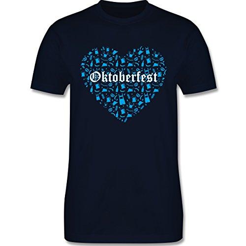 Oktoberfest Herren - Oktoberfest Herz - Herren Premium T-Shirt Navy Blau