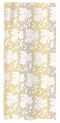 Spirella Damask Champagne Satin Effect Textile Polyester Shower Curtain. 240 x 200 cm. White/ Beige (Effect Champagne)