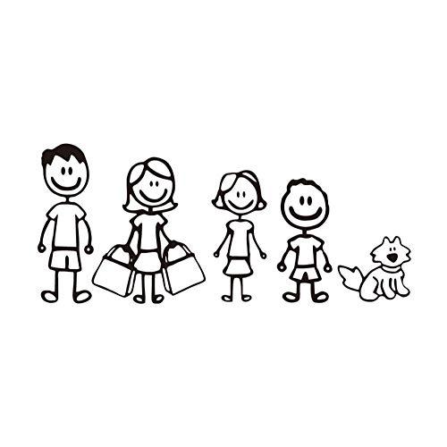 Qqasd 3 stücke Papa Mutter Tochter Sohn Und Haustier Hund WandaufkleberModerne Abnehmbare Vinyl Wandkunst Aufkleber Laptop Dekoration 8x18,5 cm