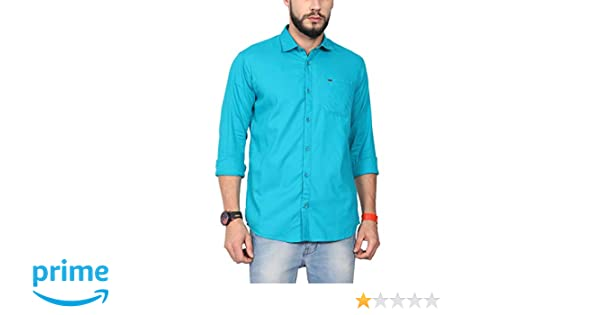 69a42bbebab NORTH REPUBLIC Men s Turqousie Plain Matty Cotton Full Sleeves Casual  Shirt  Amazon.in  Clothing   Accessories