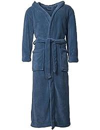 Bademantel mit Kapuze für Damen & Herren, weich und super flauschig, Coral-Fleece | XL indigo-blau Florida CelinaTex 0001282