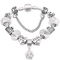 949cacbc30d5 QWERST Bracelet Silver Plated Encanto Pulseras para Mujeres con Bonitas  Murano Original Fino Brazalete para Mujer