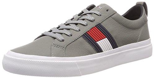 Tommy Hilfiger Herren Flag Detail Leather Sneaker, Grau (Light Grey 004), 45 EU