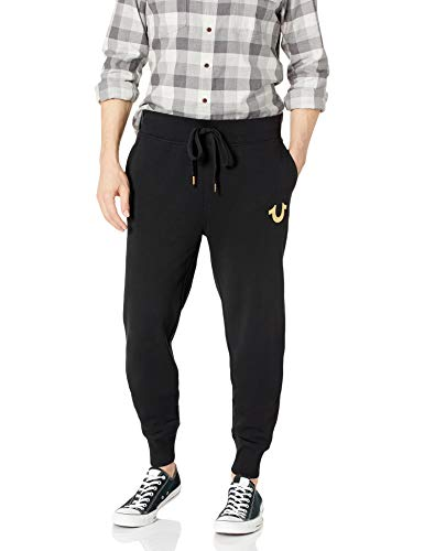 True Religion Herren Metallic Buddha Fleece Runner Pant1 Jogginghose, Black/Gold Print, Groß