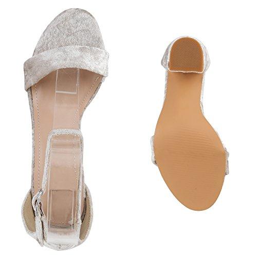Klassische Damen Sandaletten Samtoptik Party Abend Schuhe Creme