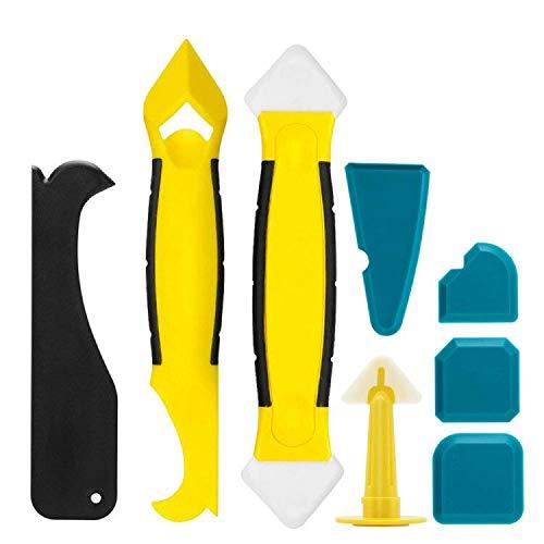 UBEGOOD Silikonentferner & Silikon Fugenwerkzeug, 8 in 1 Multifunktionale Silikon Werkzeug Schaber Set Schaber Entferner Werkzeug für Küche Badezimmer Boden und Rahmen