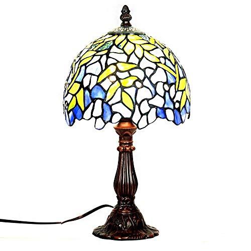 YCL Tischlampe Europäische Retro 8 Zoll Dekoration Tischlampe Blaue Blume Glasmalerei Tischlampe Mit Online Schalter Wohnzimmer Schlafzimmer Arbeitszimmer Nachttischlampe 40 watt