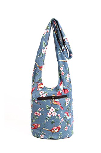 YuanDian Femmes Impression Rétro Style Ethnique Denim Tote Sac Épaule Messenger Bag Sac Seau Bleu