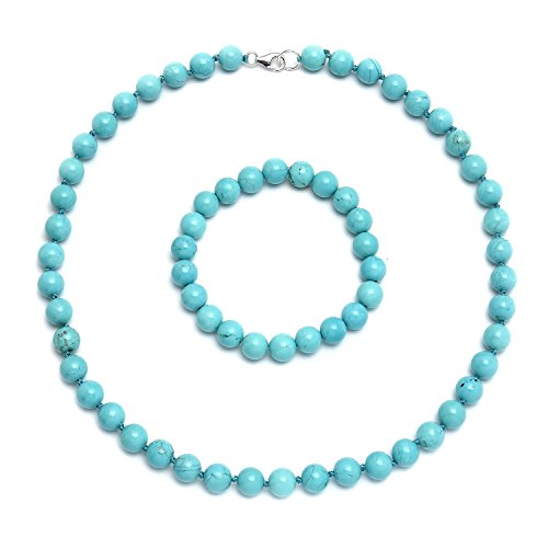 Bling Jewelry 925 Sterling Silber Perlen rekonstituierte Türkis Halskette und Armband Set