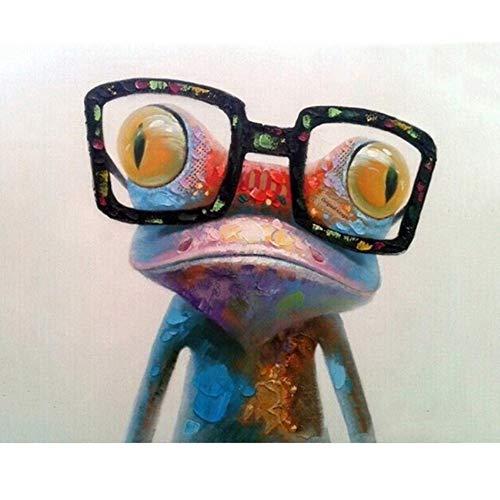 Waofe Nette Bunte Glas-Frosch-Handgemachte Farben-Qualitäts-Segeltuch-Schöne Malerei Durch Zahlen-Überraschungsgeschenk-Große Leistung With Frame