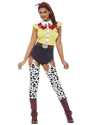 Leg Avenue 8677703101 3 teilig Set Giddy Up Cowgirl, Damen Karneval Kostüm Fasching, Mehrfarbig, Größe L (EUR 42-44)