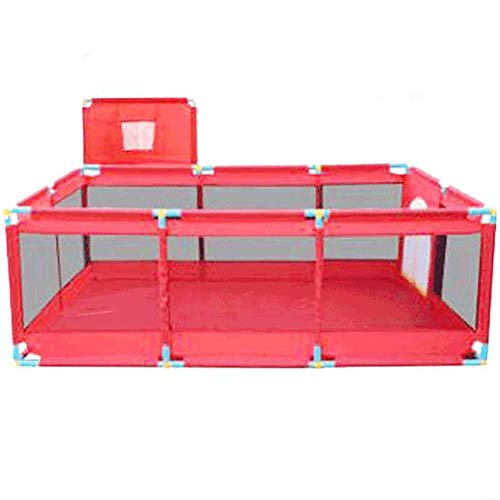 Red Playpen -baby Shooting Fence, Toddler Twins Safety Game Playard, Children Security Fence with Basketball Hoop (Size : Playpen+mat+200ball)  BSNOWF