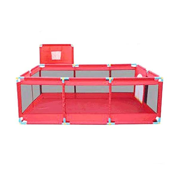 Red Playpen -baby Shooting Fence, Toddler Twins Safety Game Playard, Children Security Fence with Basketball Hoop (Size : Playpen+mat+200ball) Playpens  1