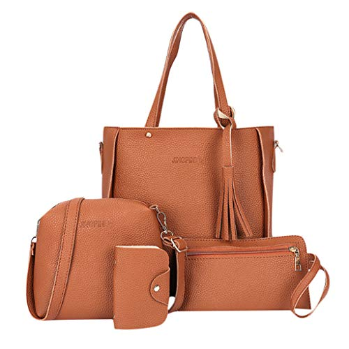 Madmoon Damen Handtaschen Schultertasche Geldbörse Kartenhalter Tasche set 4pc , Handtasche, Umhängetasche, Brieftasche, Karte Paket (BW)