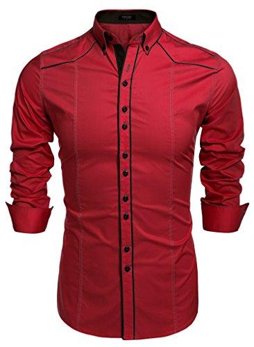 Coofandy camicie uomini casual cotone manica lunga colletto dritto button down rosso xxl