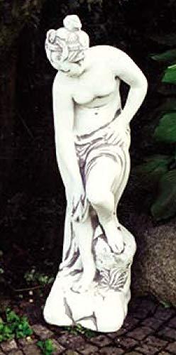 Defi Deko- und Figurenhandel Akt waschend/weiß mit Schattierungen (H508), Gartenfigur aus Steinguss, Höhe: 91 cm, Gewicht: 45 kg