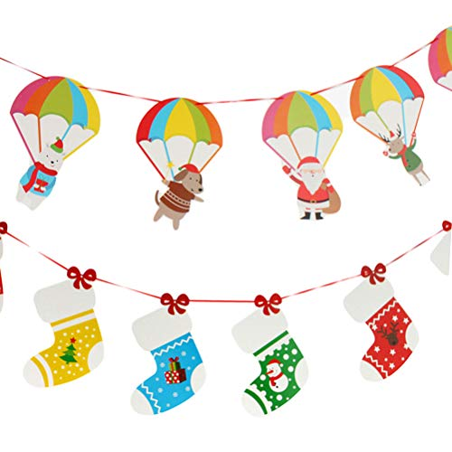 BESTOYARD Christmas Paper Banners Christmas Tree Banner Buntings Decoration Party Supplies for Xmas - (Parachute + Socks) - 2pcs