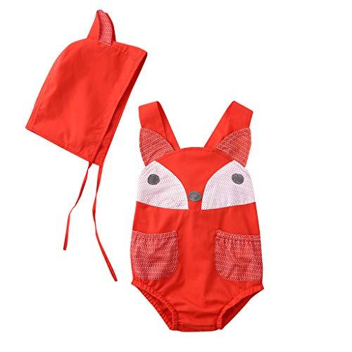 jieGREAT ❤❃ Räumungsverkauf ❤❃ , Baby Baby Boy & Girl Sleeveless Animal Vest Backless Romper Bodysuit + Hat ()