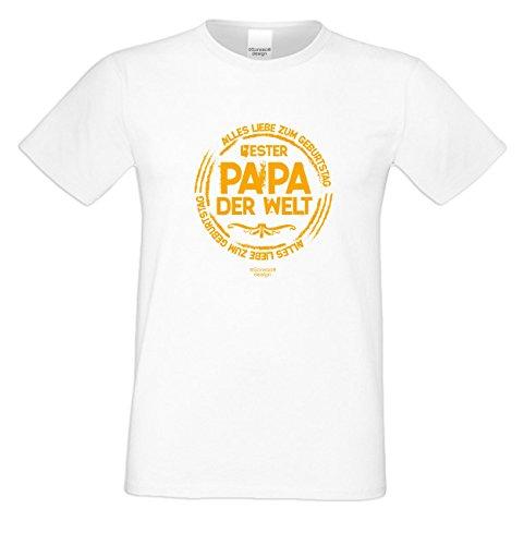 Alles Liebe zum Geburtstag ::: Bester Papa der Welt ::: Schönes T-Shirt für Herren als Geburtstagsgeschenk Farbe: weiss Weiß