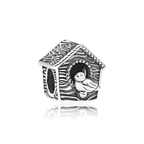 Pandora charm in argento sterling casa di uccello
