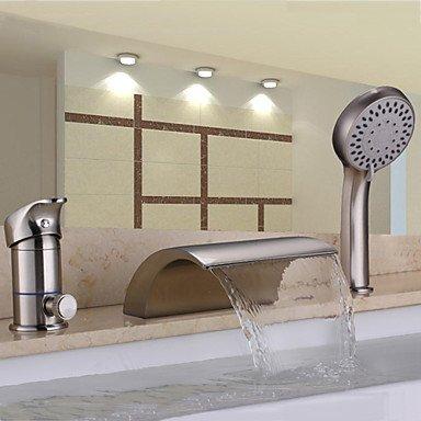 Robinet contemporain Nickel brossé trois trous poignée simple cascade douchette Inclus robinet baignoire avec douche à main