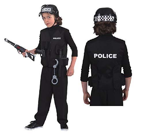 narrenkiste O5226-116-128 schwarz Polizeiweste Polizistenweste Gr.116-128 (Fbi Kostüme Für Kinder Mädchen)