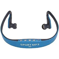 MP3 Sports Headset Earphone, Ouneed ® Moda tarjeta inalámbrica Radio FM estéreo función MP3 Deportes del auricular (Azul)