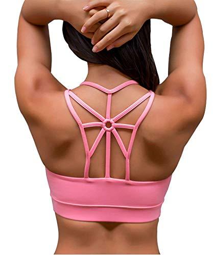 SHAPERX Damen Sport-BH, gepolstert, atmungsaktiv, hohe Stoßfestigkeit, Criss Cross Back Yoga BH - - Large