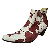 Women Ankle Boots Vintage Cow Print Mixed Colors Pointed Toe Party Casual Boots Loose Slip-on Plus Size 42 Daily Warm Plush Winter Boots