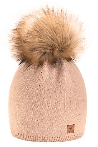 Wurm Winter Strickmütze Mütze Damen Kristalle Kiesel mit Große Pelz Bommel Pompon l SKI (Beige) ( MFAZ Morefaz Ltd) (Echte Pelz-mäntel Für Frauen)