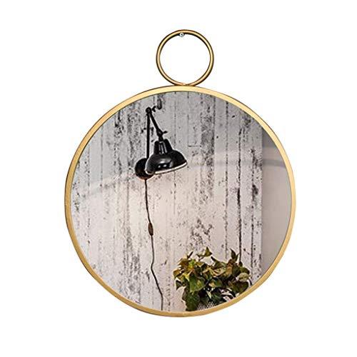 CUI XIA UK- Runder Wand-Badezimmer-Spiegel-hängender Spiegel, an der Wand befestigter Eitelkeits-Make-up und Rasierspiegel - dekorativer Flugzeughauptspiegel - Goldmetallrahmen -